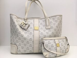 MCM Shopper white-oatmeal leather