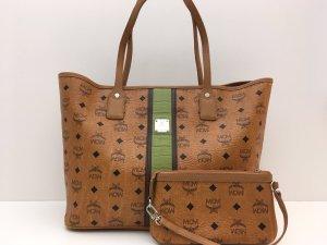 MCM Shopper cognac-coloured-green leather