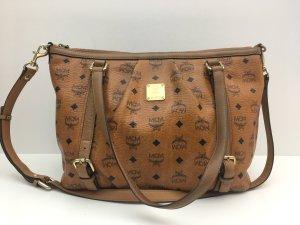 MCM Shoulder Bag cognac-coloured-black leather