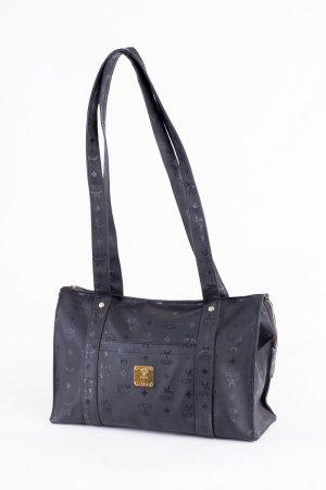 MCM Sac porté épaule noir-doré fibre textile
