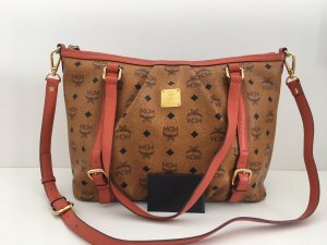 MCM Shoulder Bag cognac-coloured-bright red leather