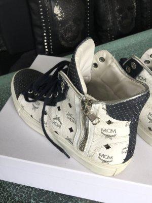 MCM Sneaker alta bianco-blu scuro Pelle