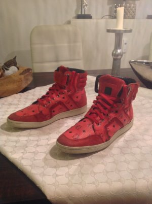 MCM Lace-Up Sneaker red