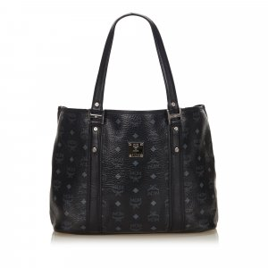 MCM Studded Visetos Leather Tote Bag