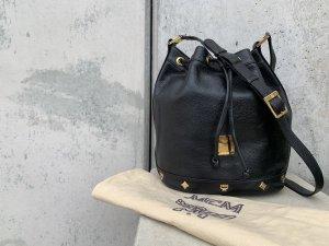 MCM Tasche Beuteltasche Leder schwarz