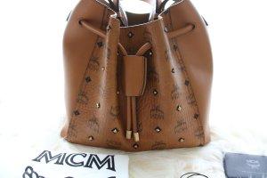 MCM Tasche Gold Visetos Drawstring Medium Cognac