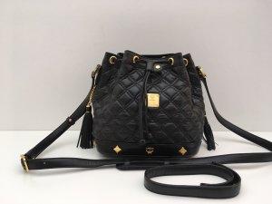 MCM Tasche Matchsack Beuteltasche Leder schwarz
