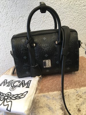 MCM Sac porté épaule noir-argenté