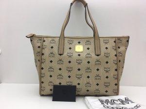 MCM Shopper grey brown-cream leather