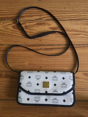 MCM Crossbody bag white-dark blue leather