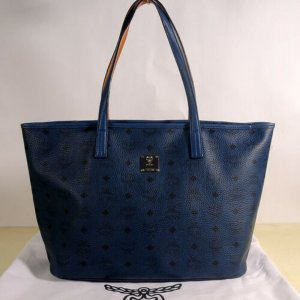 MCM Carry Bag blue leather