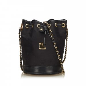 MCM Visetos Canvas Chain Bucket Bag