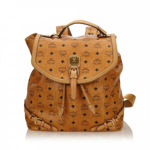 MCM Visetos Leather Drawstring Backpack