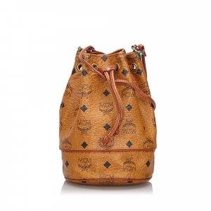 MCM Visetos Leather Drawstring Bucket Bag