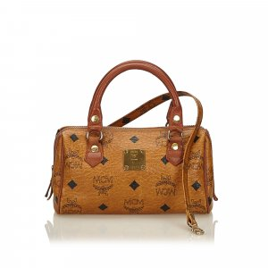 MCM Visetos Mini Leather Boston Bag