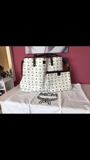 MCM Shopper white-black leather