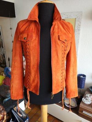 MCS Marlboro Classics Velours Leder Jacke Orange nwt