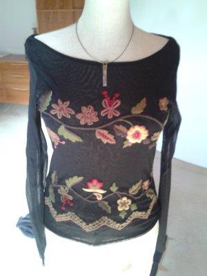 MECARELLI Shirt, schwarz, mit sehr attraktiver Stickerei