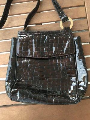 Medici Vintage Leder Handtasche Umhängetasche Tasche schwarz