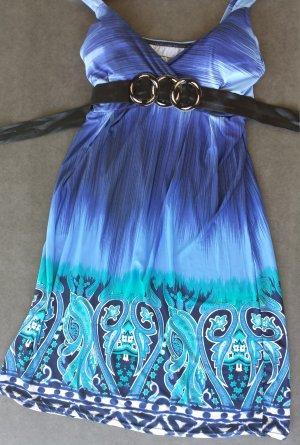 mediterranes Hippie Boho Ethno Sommerkleid Strandkleid- Farbe Oceanblue, Türkis