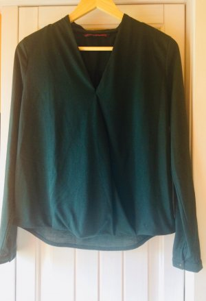 Tom Tailor Blusa de manga larga petróleo-verde oscuro tejido mezclado