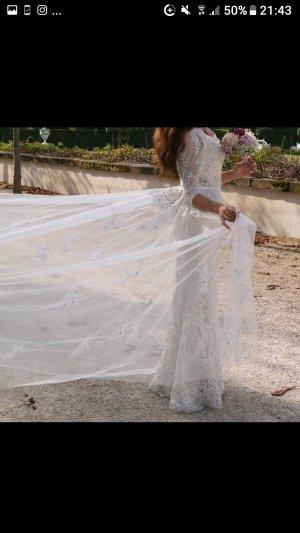 Meerjungfrauen-Abendkleid/Verlobungskleid/Brautkleid  Creme/Nude mit abnehmbarer Schleppe, Spitze, Steinen und Pailetten