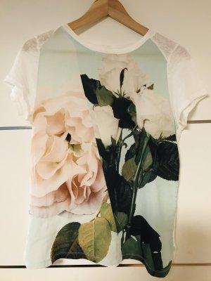 Mega Blumen Shirt durchsichtig Blume tolle Farben leicht Boho Empire Look Zara Gr. M tolles Blumen Shirt von Zara  Gr. M