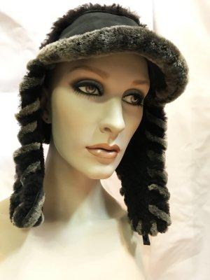 Fur Hat dark grey-petrol pelt