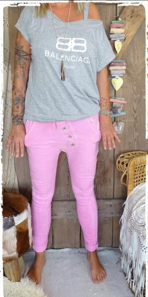 Pantalon boyfriend rose tissu mixte