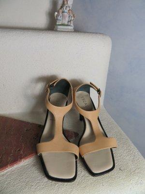mega ESCADA T-Strap Sandaletten 36 37 Pastell Hell Apricot 100% Leder Kitten Heels High Heel