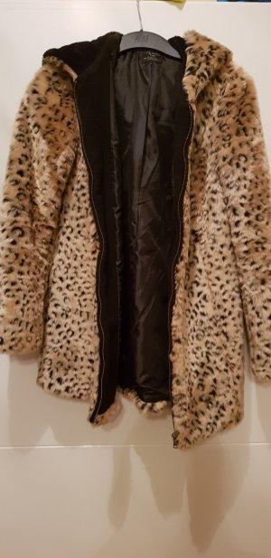 Zara Trafaluc Fake Fur Coat multicolored fake fur