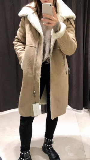 Zara Manteau en fausse fourrure multicolore