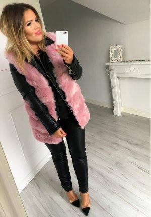 Mega oversize Fake Fur Fell Plüsch Kunstfell Weste lange Jacke Überwurf Cape Cardigan passt bei M-XL