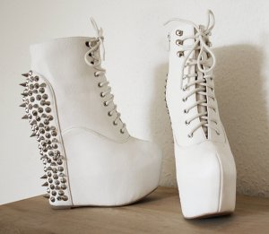 Jeffrey Campbell Platform Booties white-silver-colored imitation leather