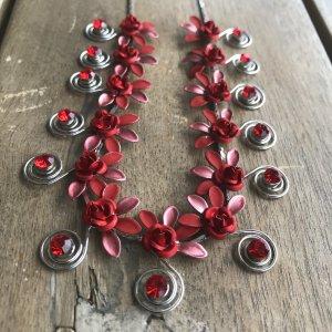 Collar estilo collier rojo-color plata