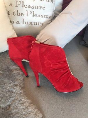 Belle Women Bottes à bout ouvert rouge-argenté