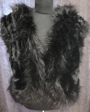 Fur vest black-silver-colored
