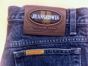 Jeans carotte noir-taupe coton