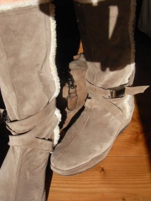 Fur Boots grey brown-beige leather