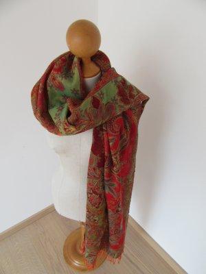 Bufanda verde oliva-rojo Lana