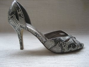 megaschone schuhe pumps bianco neu gr. 38 grau snakeprint