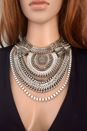 Culture Statement Necklace silver-colored metal