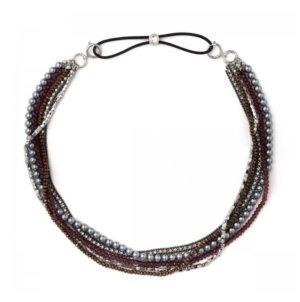mehrreihige Kette Perlen Glassteine