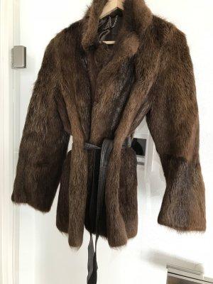 Meico Manteau d'hiver brun foncé-cognac fourrure