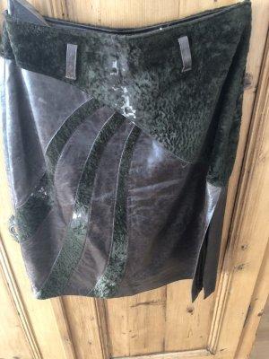 Meindl Falda de cuero marrón oscuro Cuero