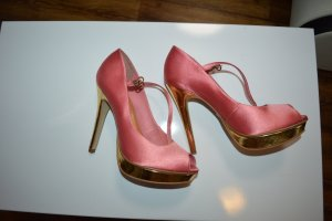 Meine Satin Plateau Heels Rose-Gold 39 Buffalo