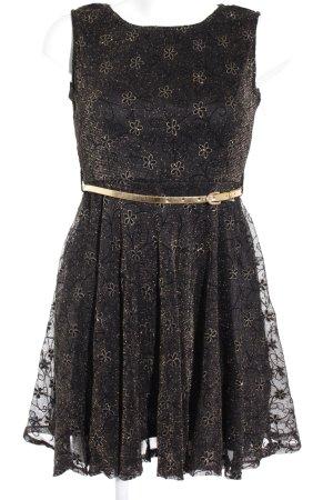 Mela London Minikleid schwarz-goldfarben Blumenmuster