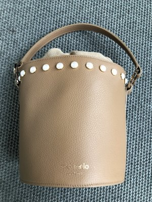 Meli Melo Ledertasche Santina Mini Bucket Bag Light Tan Pearl mit Perlen verziert in Beige