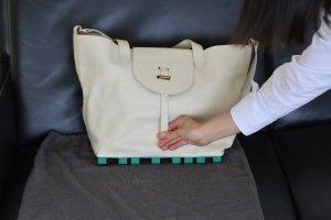 Meli Melo Tote green-natural white leather