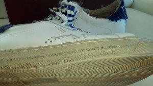 Sneaker stringata bianco-blu acciaio Pelle